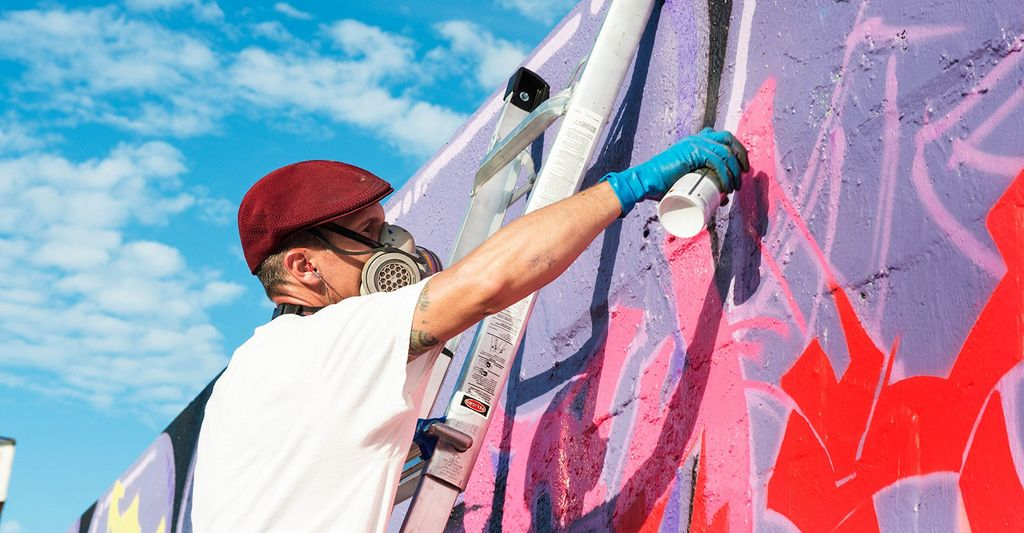 A mural painter in Asbury Park, NJ