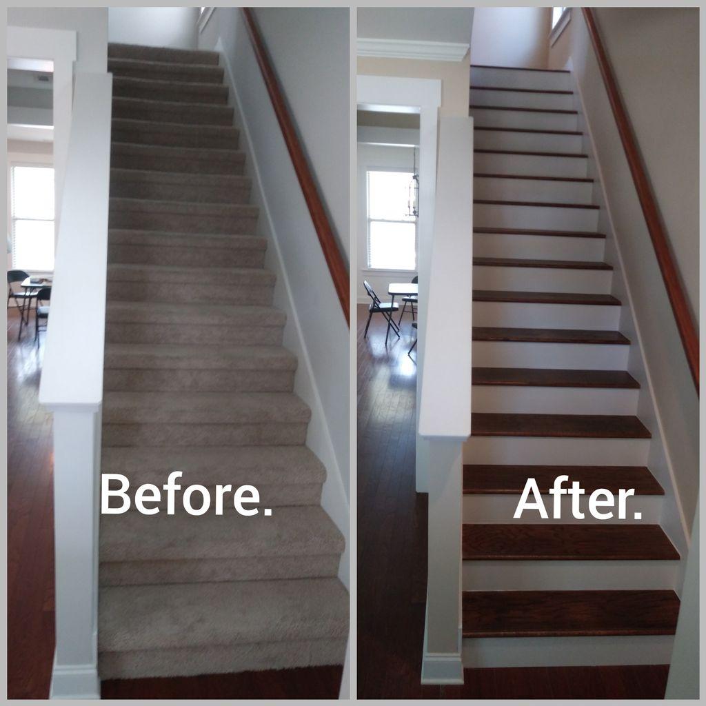 Engineered hardwood install and stairs