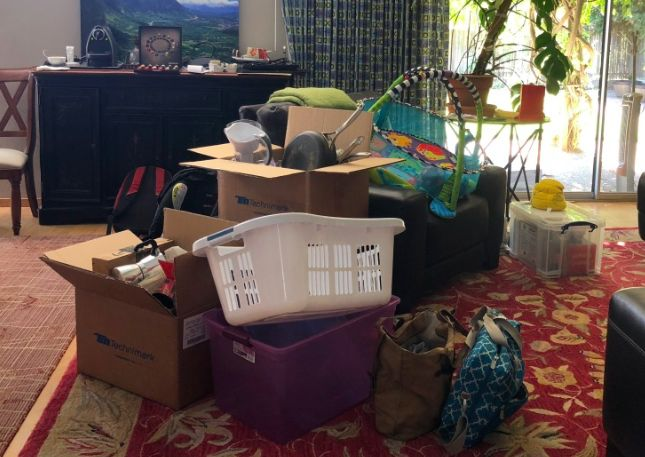 Unpacking, organizing living and dining room