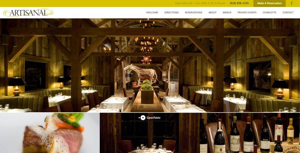 Restaurant Web Design for Artisanal Restaurant
