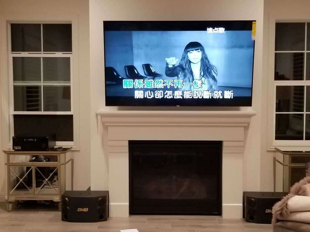 TV and sound system set up