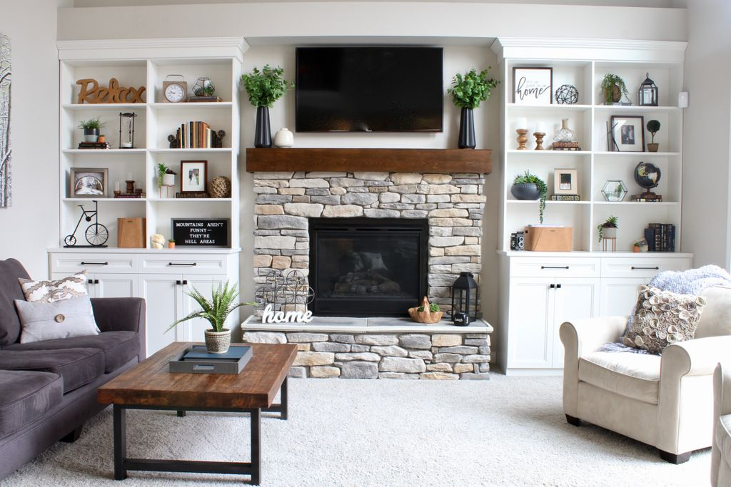 Modern Farmhouse Fireplace Built-ins