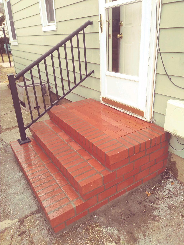 New stoop, railing, cement