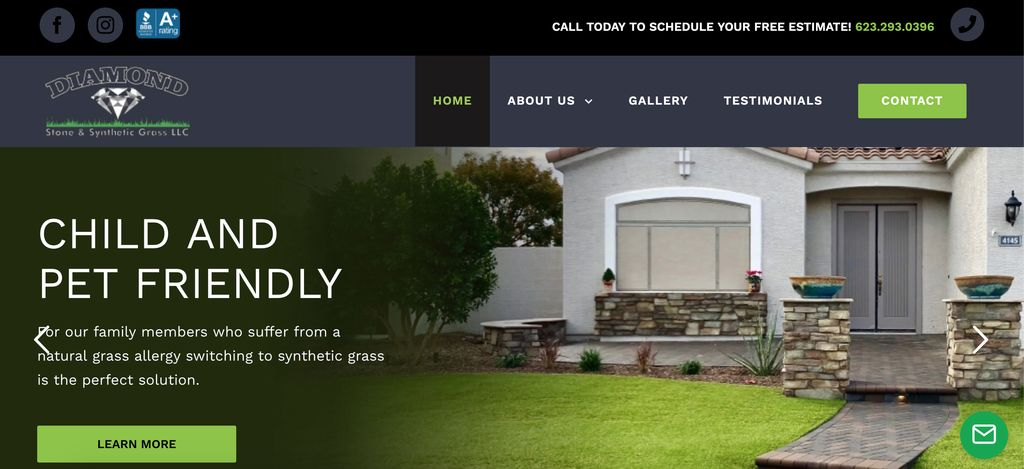 Custom WordPress Theme for Stone and Synthetic Grass Company