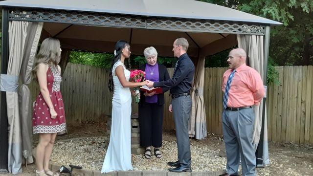 A patio wedding  on a summer evening