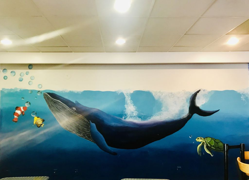 Whale mural for a milktea place