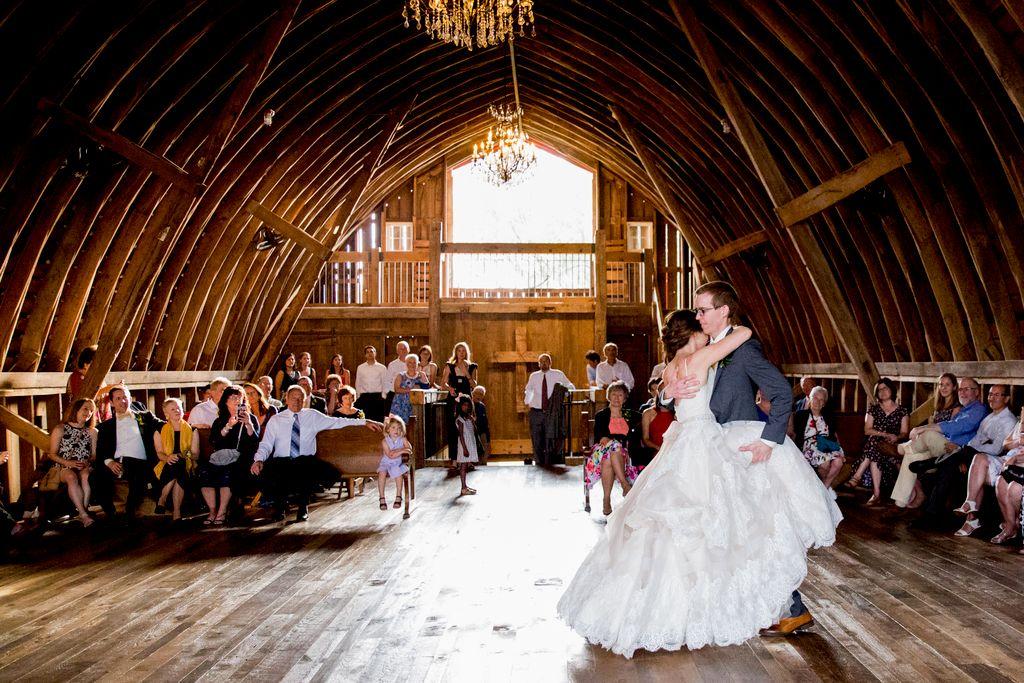 Wedding dance in barn