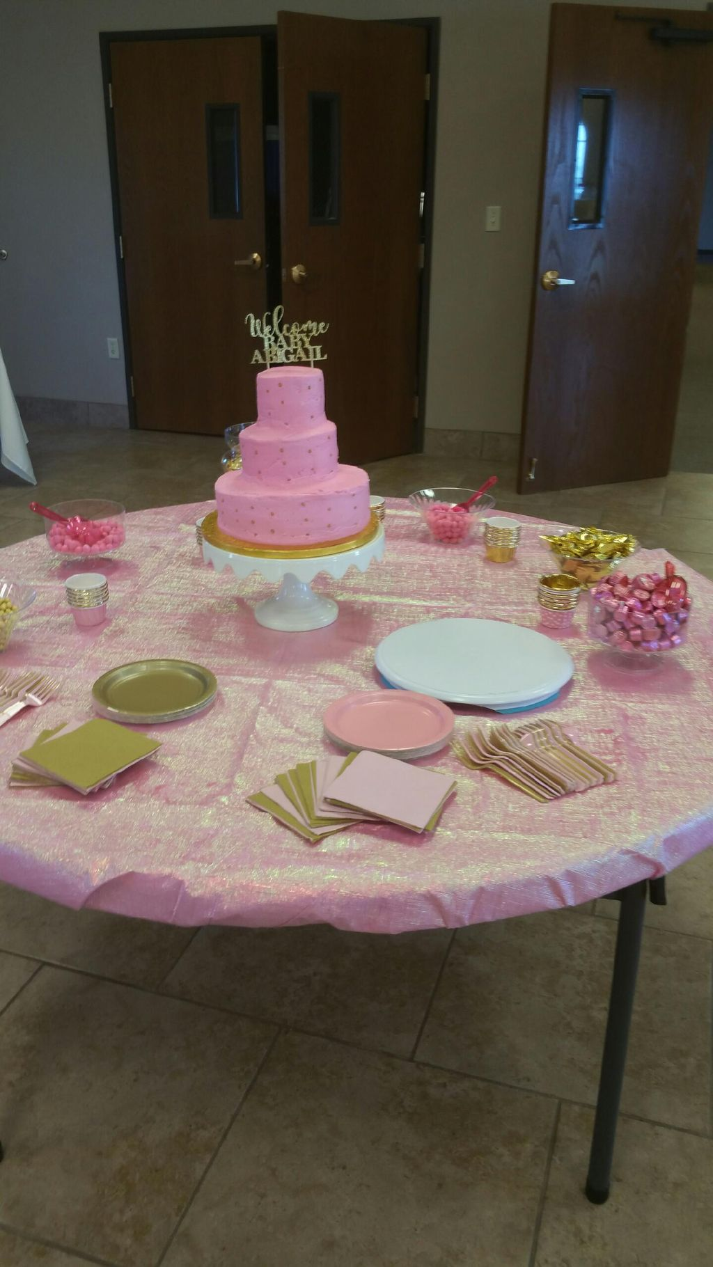 Baby Shower Cake and Candy Buffet