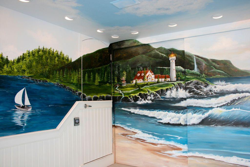 Ocean lighthouse mural