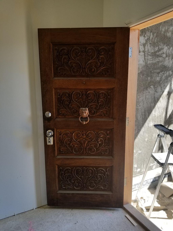 Mahogany door install and frame build
