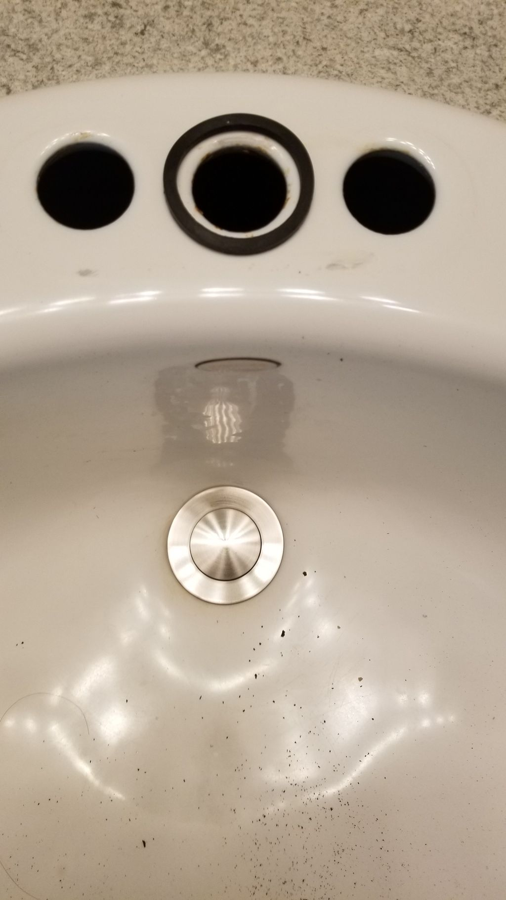 Enlarge sink mount for 2 new faucets and drains