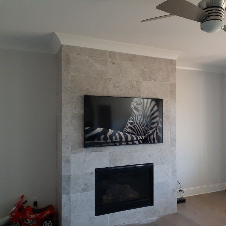 Tile fireplace TV Mounting
