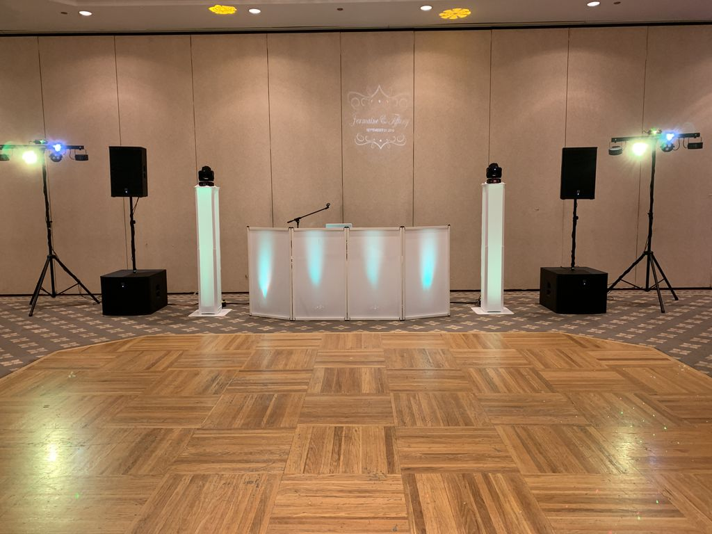 Wedding with Monogram, Moving headlights, and Dance floor lights