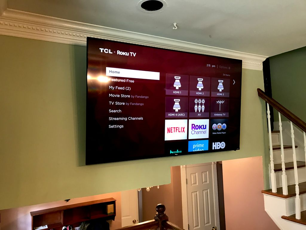 65 inch Roku TV Mounted with New Outlet